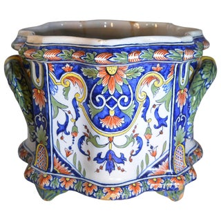 French Hand Painted Nevers Faience Cachepot Jardinière, Circa 18th Century For Sale