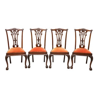 Antique 19th Century Mahogany English Chippendale Dining Chairs - Set of 4 For Sale