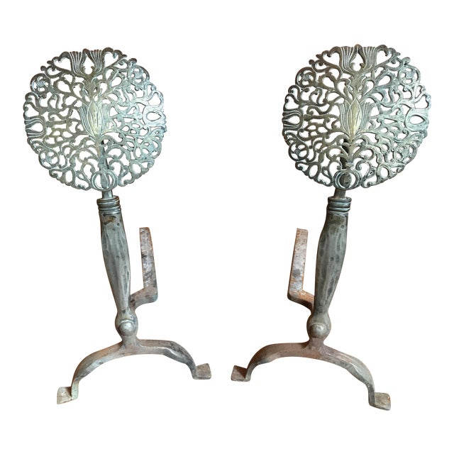 19th Century American Nickel Silver and Bronze Medallion Andirons - a Pair For Sale
