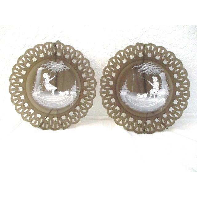 Smoke Glass Girl & Boy Display Plates - a Pair For Sale - Image 9 of 9