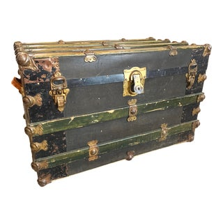 Antique Endebrock Trunk Co Dark Green Railway Travel Trunk With Brass For Sale