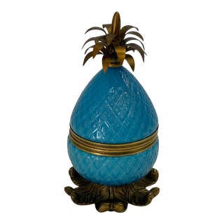Murano Turquoise Glass & Brass Adorned Pineapple Shaped Box For Sale