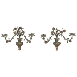 19th Century French Tole Painted Sconces - a Pair For Sale