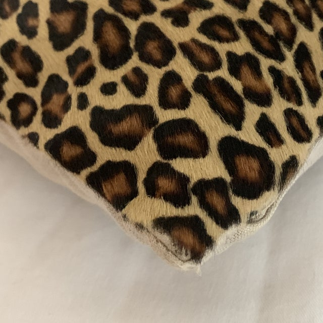 Leopard Pillow Cowhide Leather Pottery Barn For Sale - Image 9 of 11