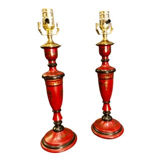 20th Century Chinoiserie Red Candlestick Lamps - a Pair For Sale
