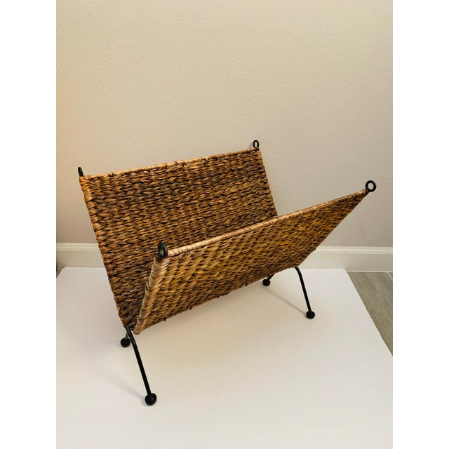 Iron and Wicker Magazine Rack Holder Vintage Mid Century Umanoff Style For Sale - Image 10 of 10