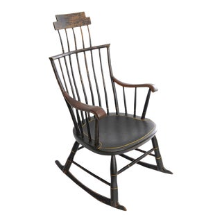 18th Century Primitive Black Painted Wood Windsor Rocking Chair For Sale