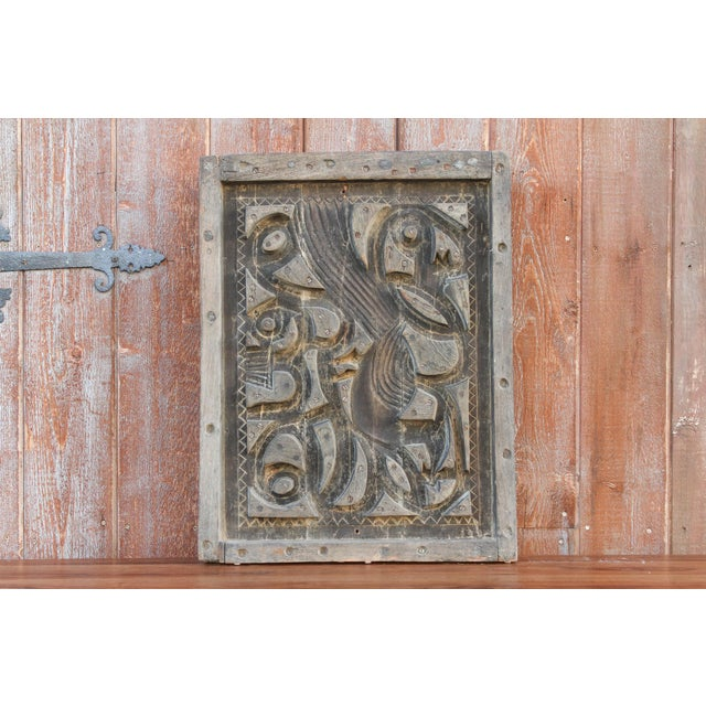 Wood Antique Abstract Wood Block Printing Panel For Sale - Image 7 of 7