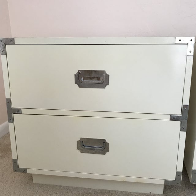 White Vintage Dixie Campaign Hollywood Regency Nightstands - a Pair For Sale - Image 8 of 12