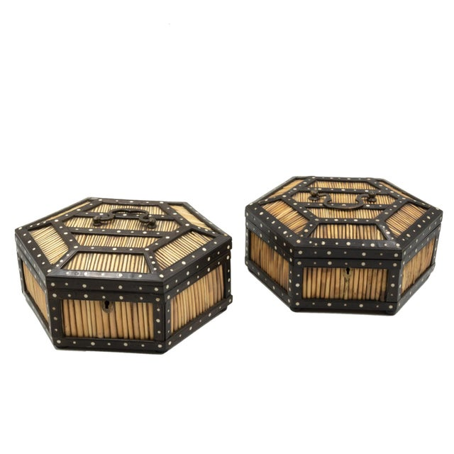 Pair of Ebony and Porcupine Quill Hexagonal Boxes, Ceylon, Circa 1880 For Sale - Image 10 of 10
