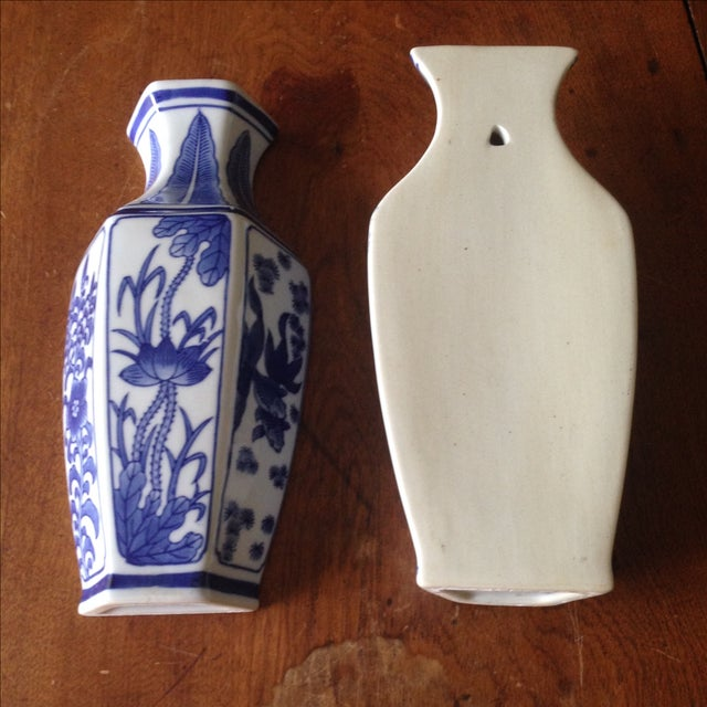 Chinoiserie Vintage Blue White Wall Vases Pair Chairish