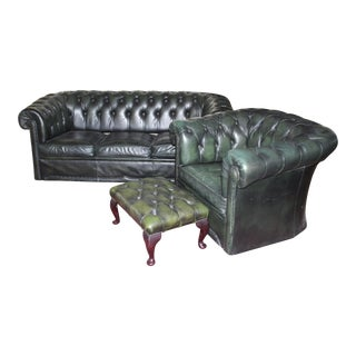 Vintage Green Leather Chesterfield Sofa Set For Sale