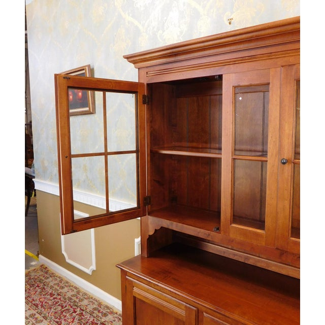 Tan Ethan Allen Country Crossings China Cabinet For Sale - Image 8 of 11
