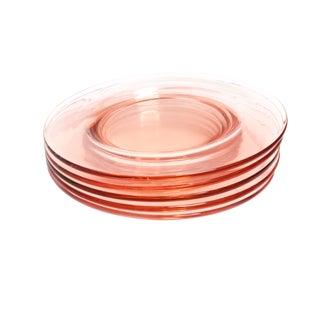 Vintage 1930s Depression Era Glass Pale Pink Plates - Set of 5 For Sale