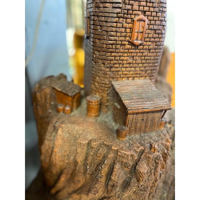 Lighthouse + Village Wood Carved Sculpture For Sale - Image 9 of 13