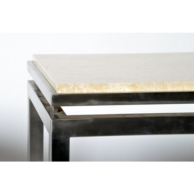 Marble Pair of Two-Tier Travertine Side Tables in the Style of Guy Lefevre For Maison Jansen For Sale - Image 7 of 11