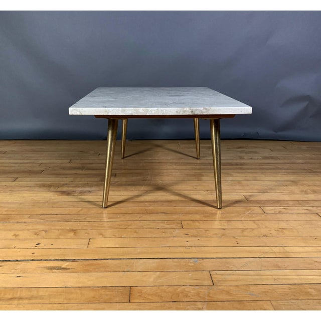 Mid-Century Travertine and Brass Coffee Table, Usa For Sale In New York - Image 6 of 10