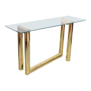 Abstract Brass Milo Baughman Console Table, 1970s, Usa For Sale