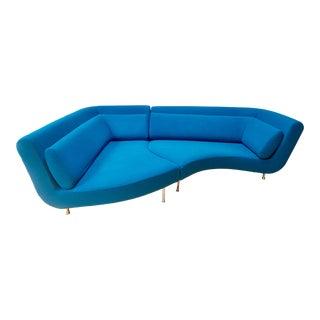 Ligne Roset Yang Sofa in Blue, by Francois Bouchet, a Pair For Sale