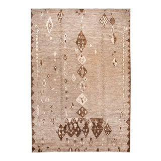 Large Modern Moroccan-Style Tribal Wool Rug 12 Ft 2 in X 17 Ft 6 In For Sale