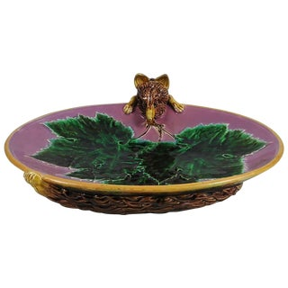 19th Century Victorian Majolica Fox Pink Pottery Server For Sale