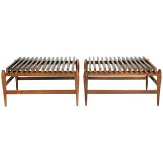 1950s Liceu De Artes E Oficios Jacaranda Slatted Side Tables, Brazil - a Pair For Sale