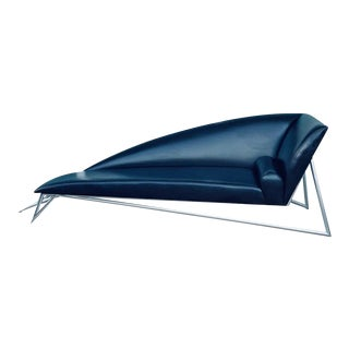 Stephane Rondel Modern Leather Chaise with Chrome Legs For Sale
