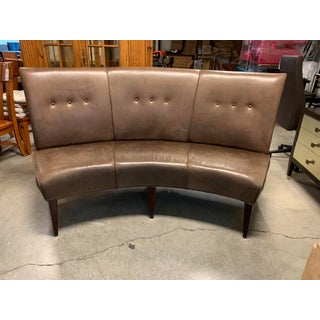 Hickory White Curved Leather Banquette Preview