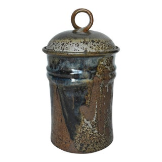 "Mid Century Tall Stoneware Lidded Container Jar 11"" For Sale"