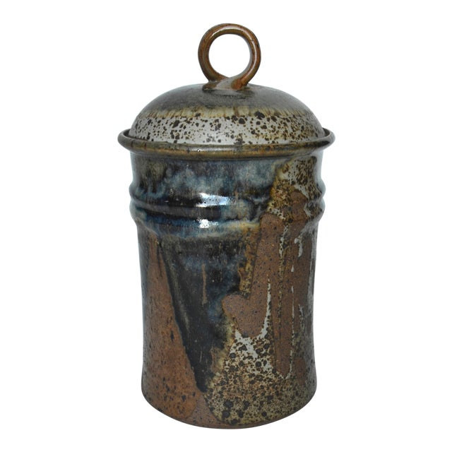 """Mid Century Tall Stoneware Lidded Container Jar 11"""" For Sale"""