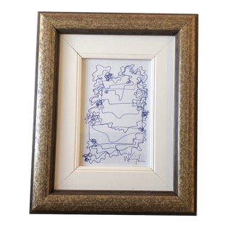 Original Contemporary Wayne Cunningham Small Abstract Ink Drawing Framed For Sale