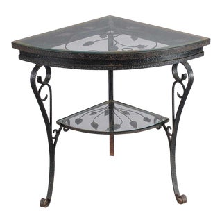 Iron and Glass Corner/Side Table For Sale