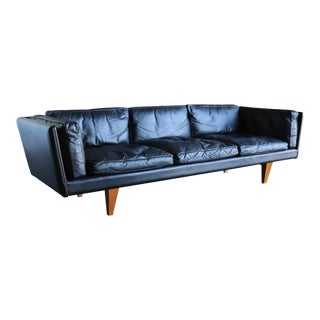1960s Vintage Illum Wikkelsø Black Leather Sofa For Sale