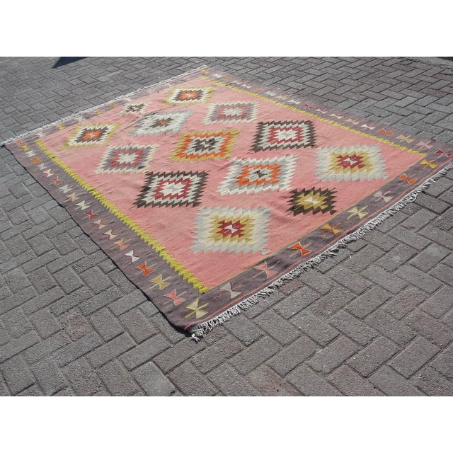 Islamic Vintage Turkish Kilim Rug - 6′5″ × 8′9″ For Sale - Image 3 of 11