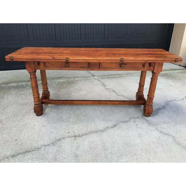 Century French Country Drop Leaf Dining Console Table For Sale - Image 12 of 13