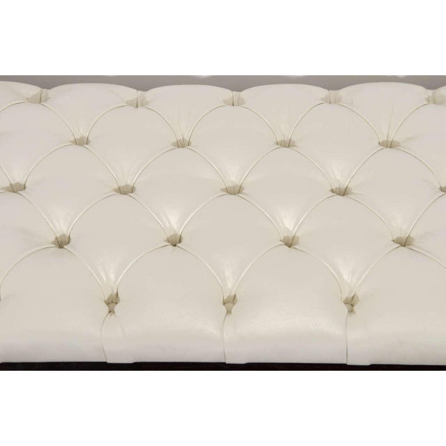 Custom Tufted Leather with Lucite Leg Bench For Sale - Image 4 of 6