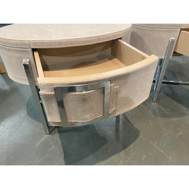 Metal Pair of Custom Made Suede End Tables With Stainless Steel Frame For Sale - Image 7 of 10