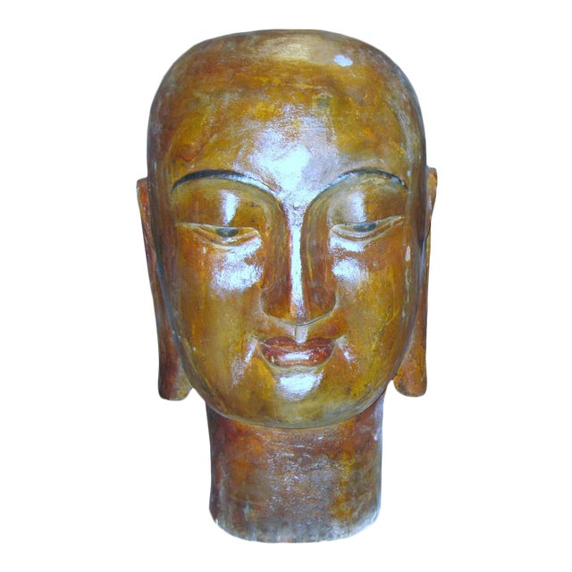 Wooden Buddha Head For Sale