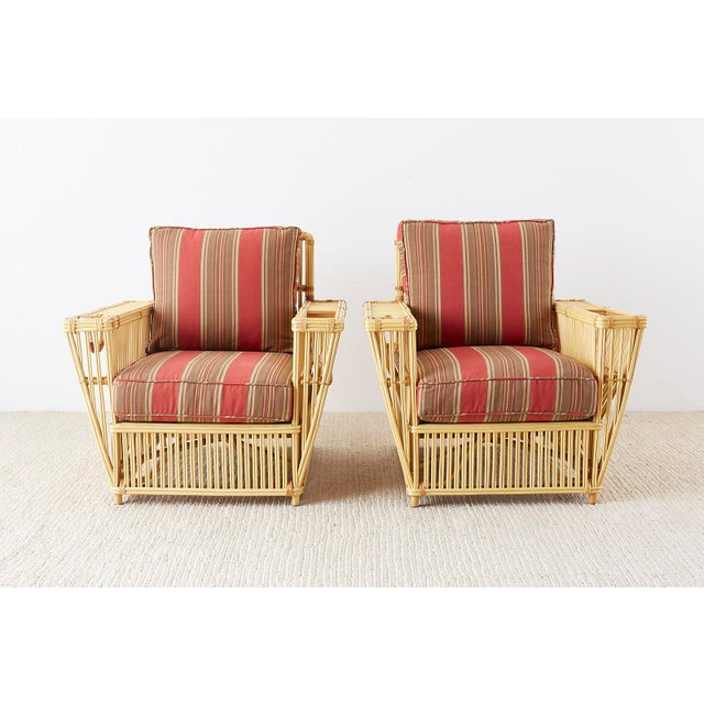 Wicker Pair of Bielecky Stick Wicker Rattan President Lounge Chairs For Sale - Image 7 of 13