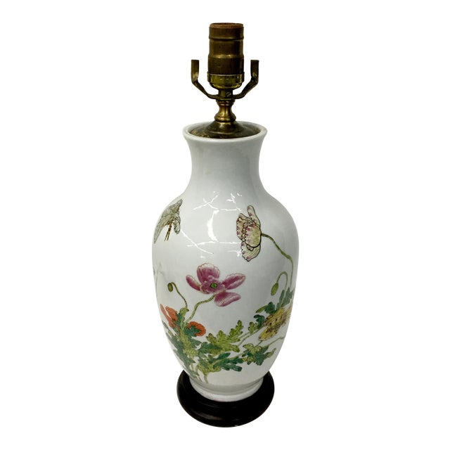 Vintage Chinese Flowers and Butterflies Vase Lamp For Sale