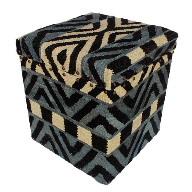 Delois Blue/Ivory Kilim Upholstered Handmade Storage Ottoman For Sale