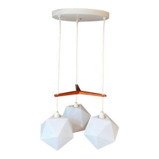 Vintage Fredrick Ramond Teak and Plastic 3 Light Ceiling Fixture For Sale