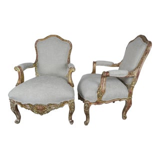 Vintage French Giltwood Armchairs- a Pair For Sale
