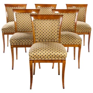 Set of Six Biedermeier Fruitwood Dining Chairs For Sale