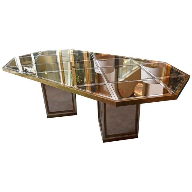 Mid Century Modern Italian Romeo Rega Brass, Chrome, Glass & Mirror Dining Table / Desk - Image 4 of 5