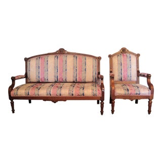 Antique Scandinavian Settee and I Arm Chair S/2 For Sale