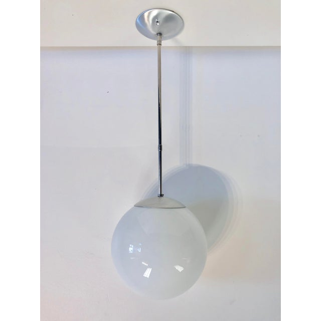 White Mid-Century Chrome Oversized Globe Pendant For Sale - Image 8 of 8