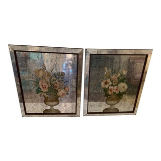 Antique Floral Églomisé Mirror Paintings of Flowers in Urns -A Pair For Sale