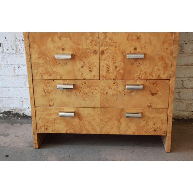 Leon Rosen for Pace Burled Olive Wood and Chrome Wardrobe Dresser - Image 5 of 13