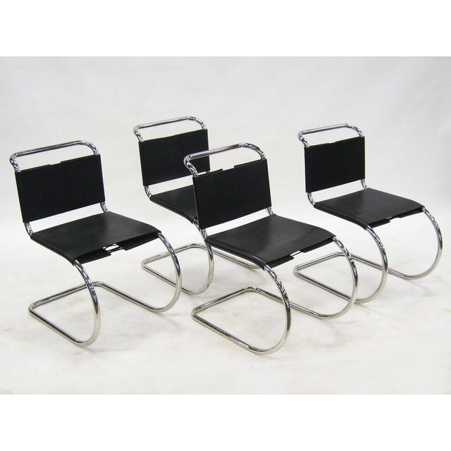 Black Ludwig Mies van der Rohe MR chairs by Knoll For Sale - Image 8 of 8